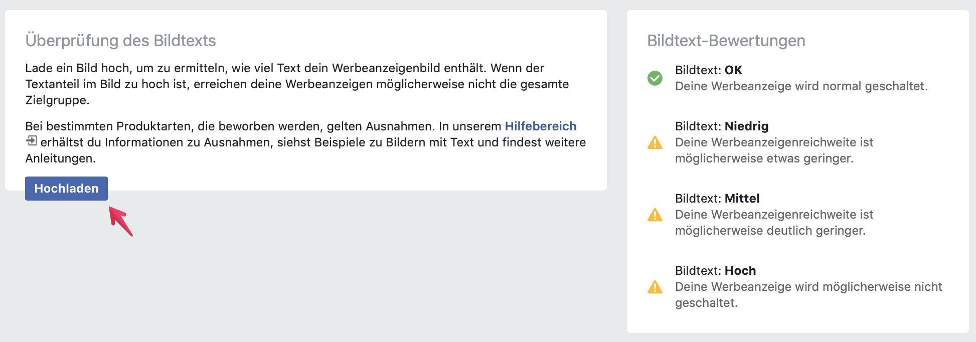 Die Hochlademaske des Facebook Text-Overlay-Tools