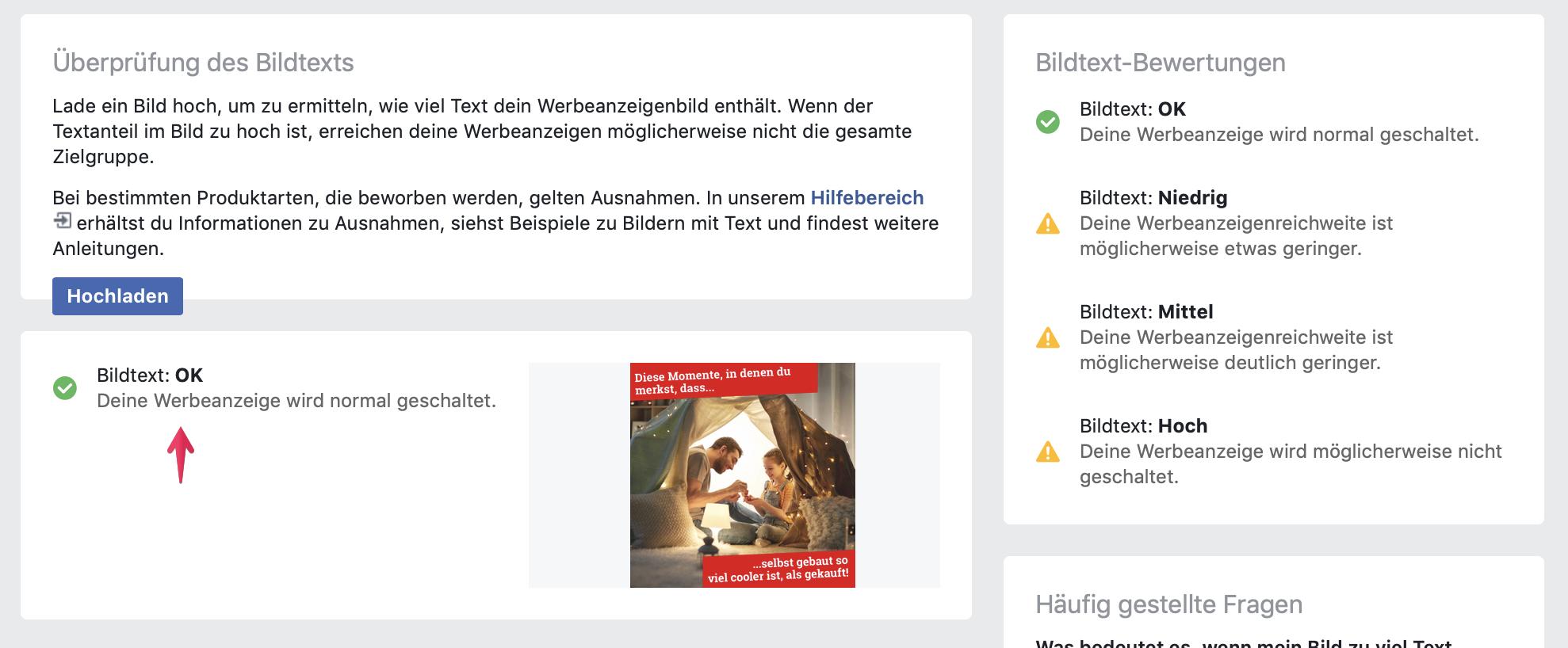Das Ergebnis der Facebook Text-Overlay-Tool Überprüfung