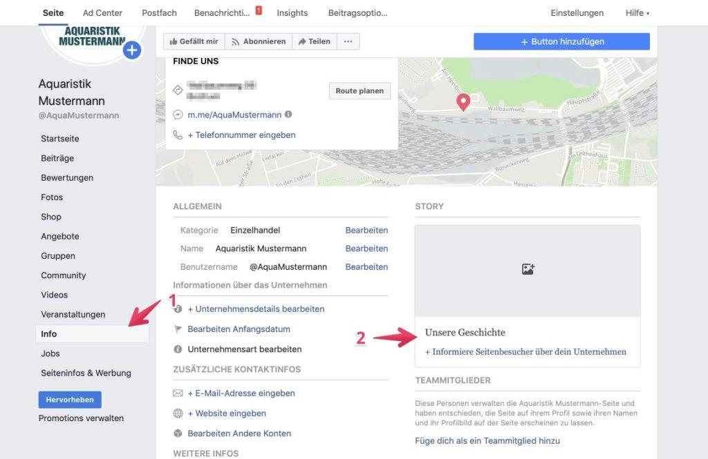 """So bearbeitest du den Bereich """"Unsere Geschichte"""" auf deiner Facebook Unternehmensseite."""