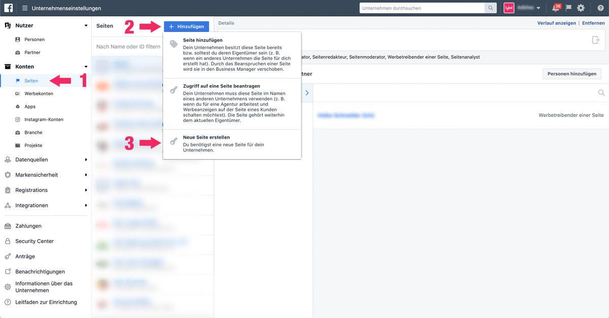 Facebook Seite im Business Manager erstellen