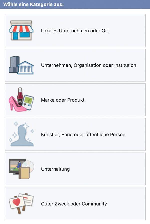 Unternehmenskategorie auf Facebook wählen