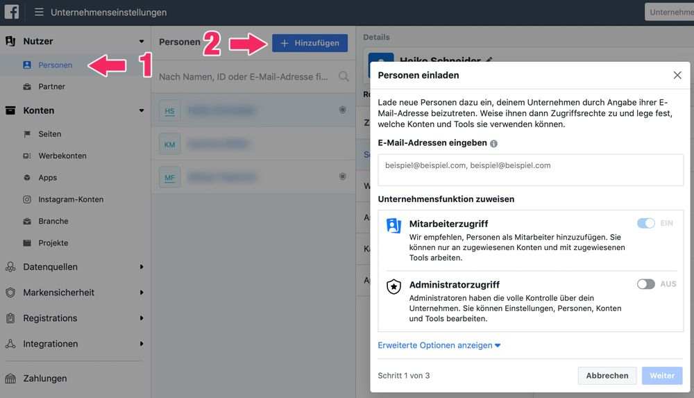 Facebook Seite erstellen. Neuen Nutzer anlegen.