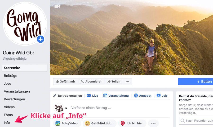 Facebook Seitennamen ändern Schritt 2