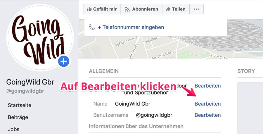 Facebook Seitennamen ändern Schritt 3 Bearbeitung