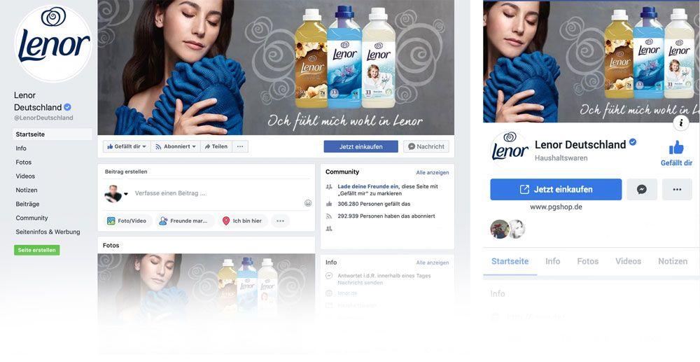 Das Facebook Titelbild einer Markenseite auf Desktop und mobil