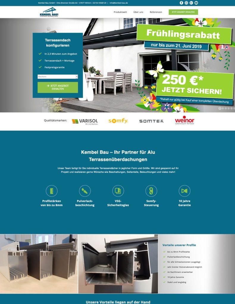Shopping Landing Page Beispiel für Terrassenüberdachung