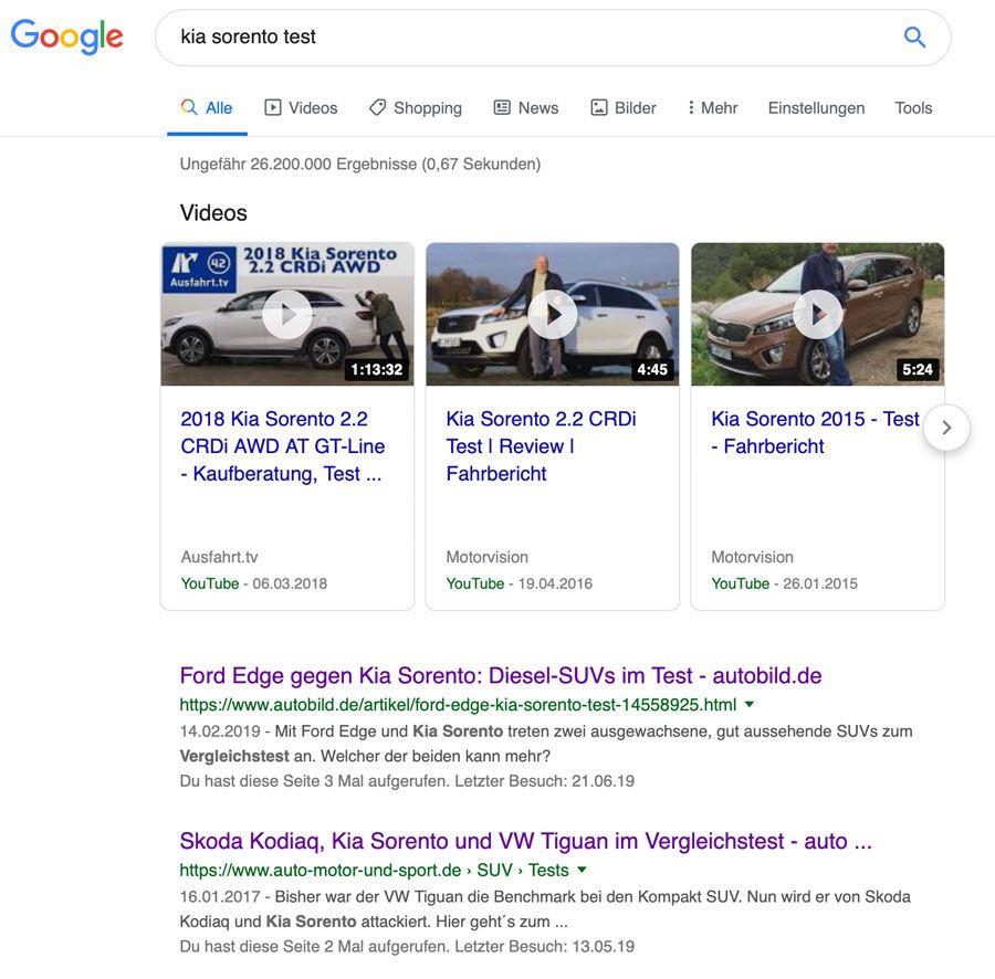 Google Snippet Vorschau. Über YouTube Videos kann dein Blog auf Platz 0 ranken.