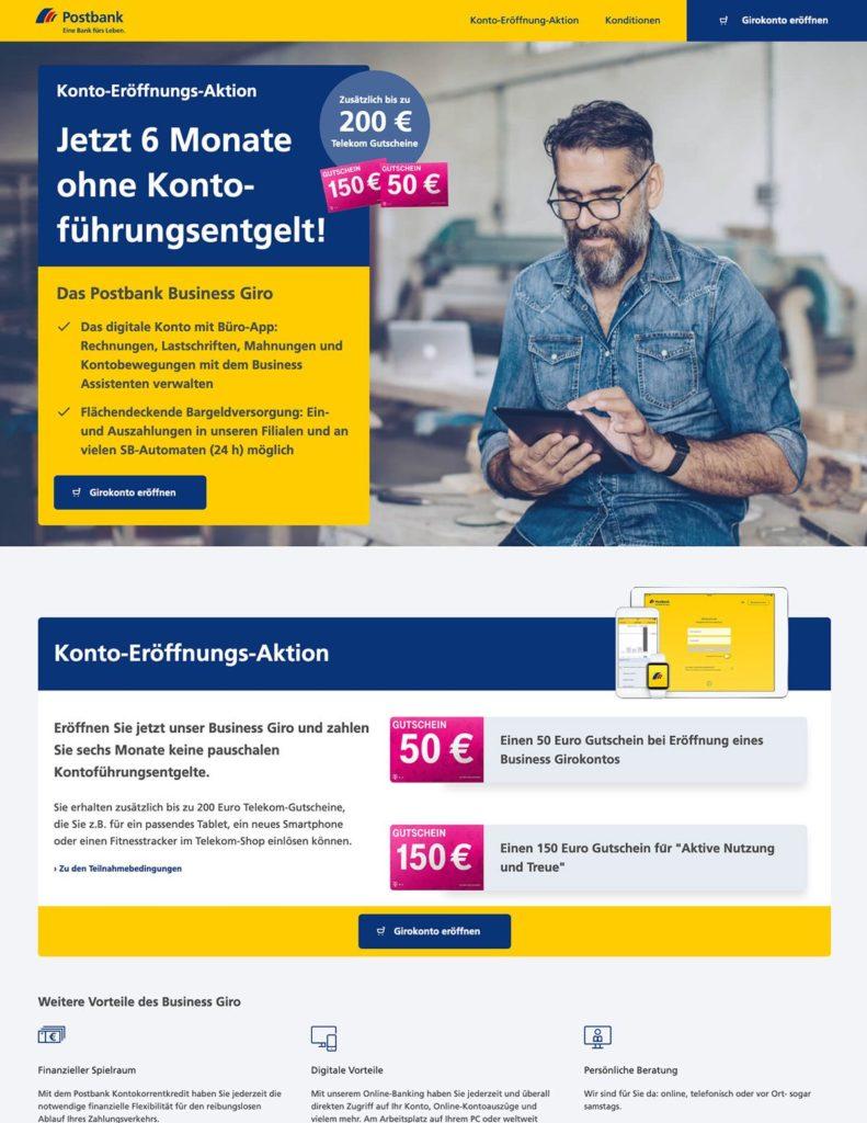 B2B Kampagnenseite für ein Geschäftskonto