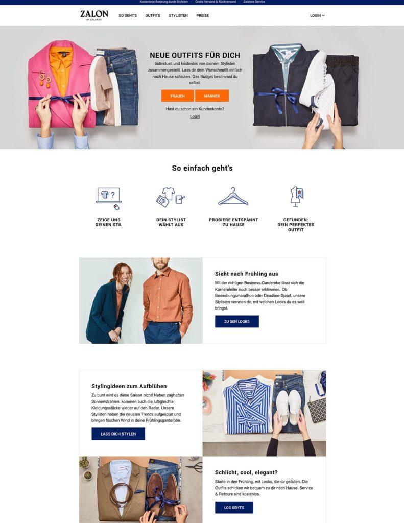 Beispiel für eine Shopping Landing Page von Zalon