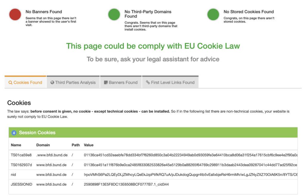 Cookies finden - Screenshot CookieMetrix