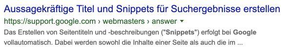 Google Snippet in der Suche