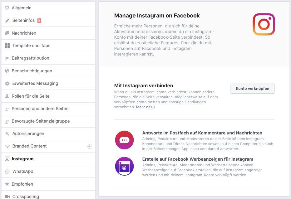 Facebook Seite und Instagram verknüpfen
