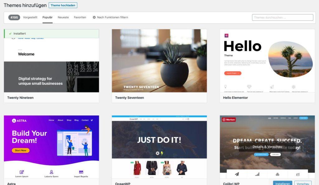 Im neuen Blog ein kostenloses Design installieren.