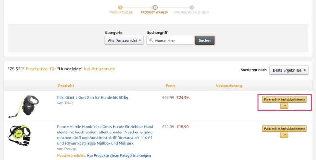 Produktlink im Amazon Partnerbereich erstellen