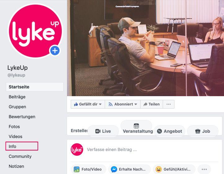 """Über den Menüpunkt """"Info"""" die Facebook Seiteninformationen zum Abändern aufrufen."""