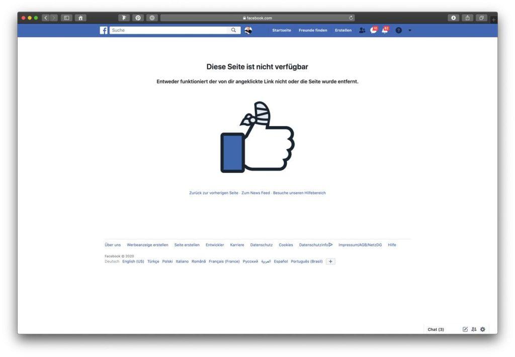 Facebook Seiten Adresse zeigt 404 Fehler