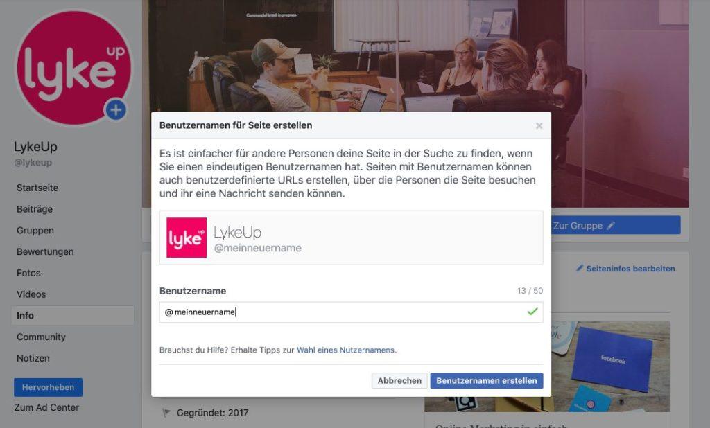 Einen neuen Benutzernamen für die Facebook Seite erstellen, um den Link zur Seite geändert zu bekommen.