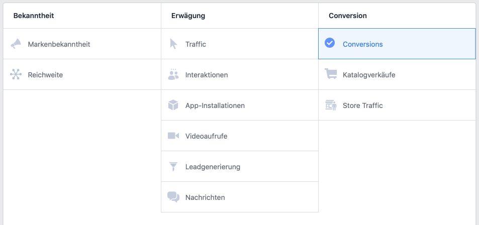 Traffic oder Conversion als Kampagnenziel
