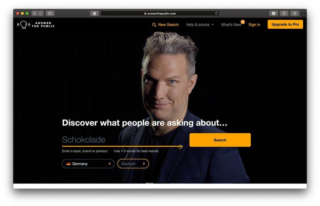 Answerthepublic für relevante Suchanfragen für deinen Content
