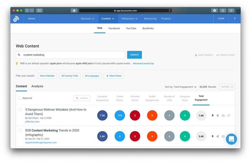 Buzzsumo für Contentrecherche und Blogideen