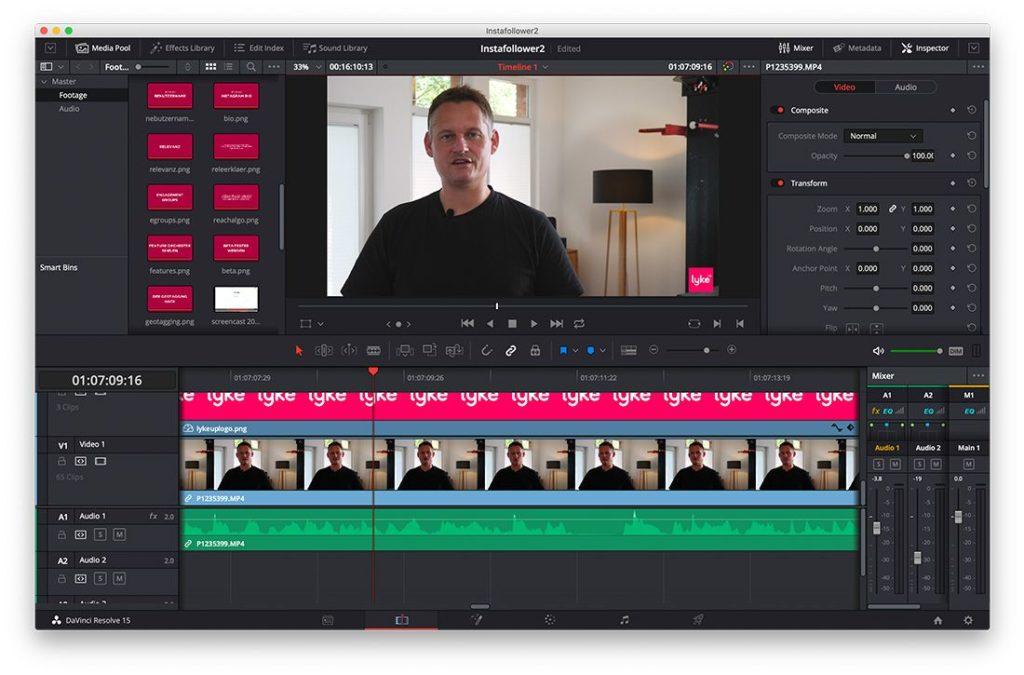 DaVinci Resolve zum Editieren von Video-Content
