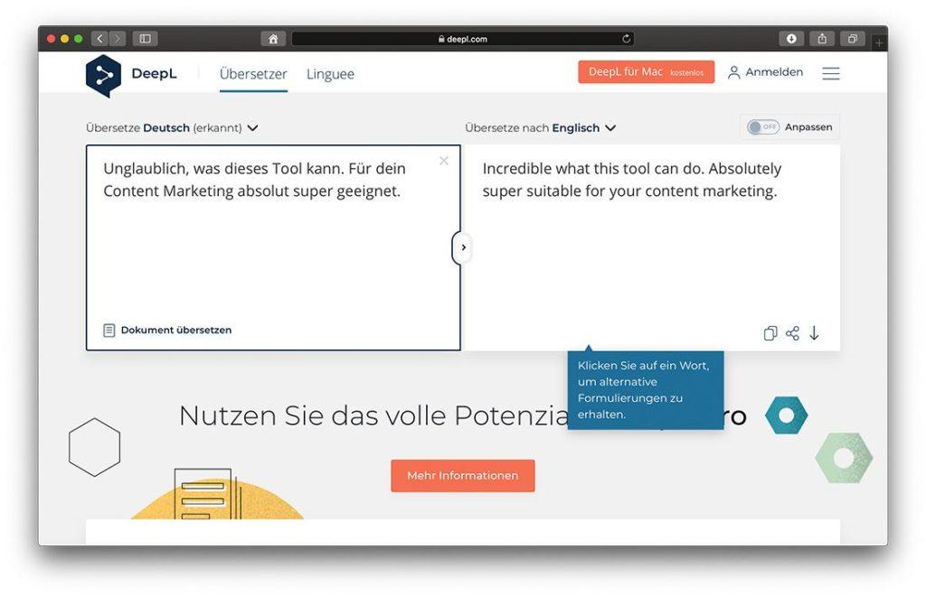 DeepL - Tool zum Übersetzen von Blogartikeln