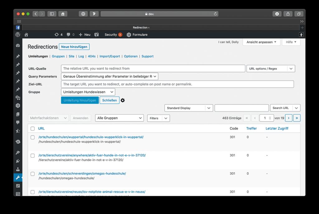 Vor dem Überarbeiten deines Website Aufbaus das Redirection Plugin installieren