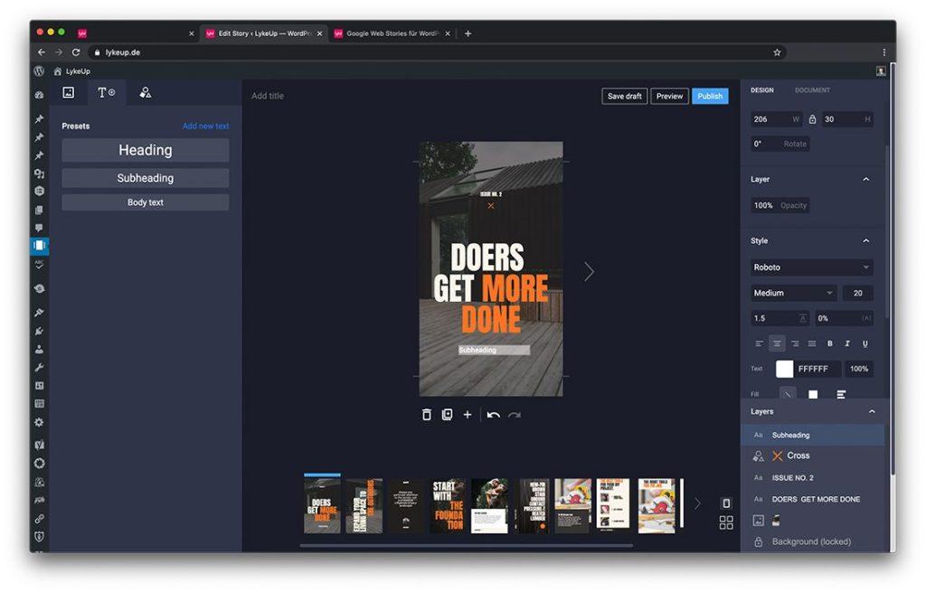 Screenshot des Story Backends in WordPress zum Erstellen von neuen Geschichten