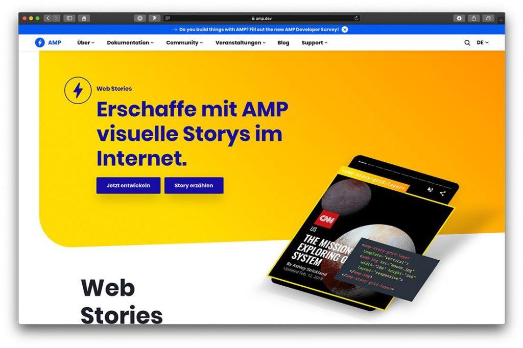 Web Stories können auch direkt mit AMP erstellt werden