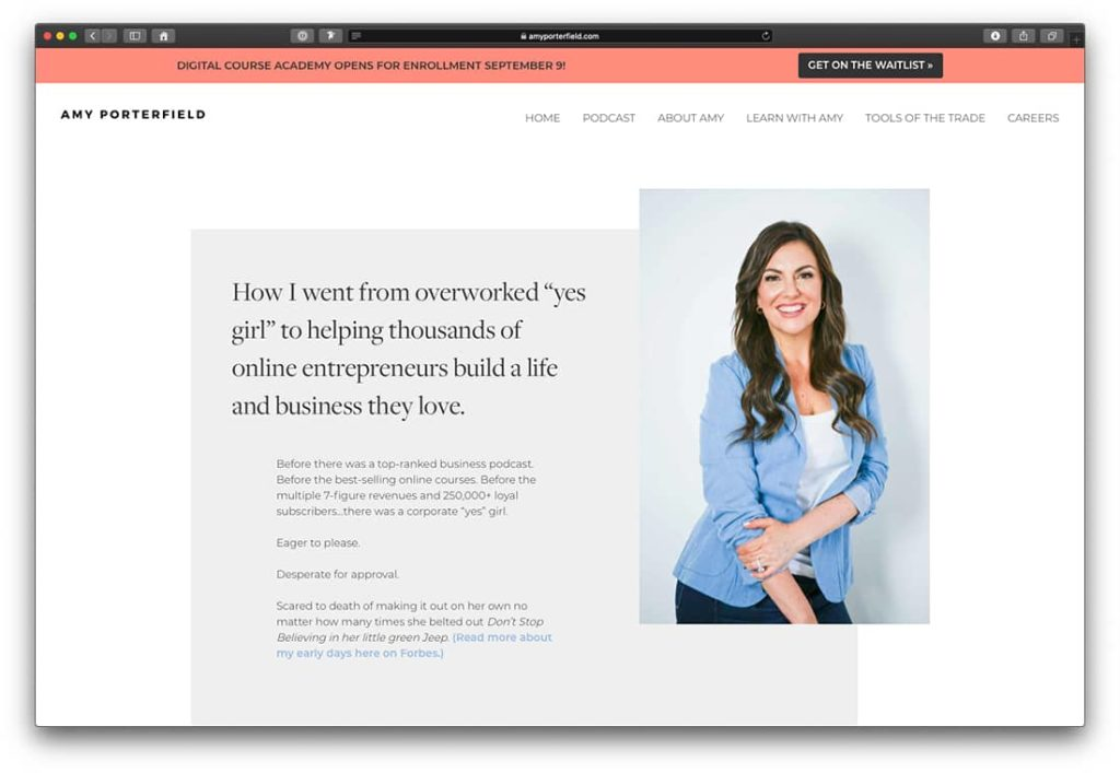 About me Page von Amy Porterfield