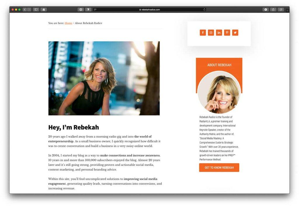 Call-to-Action Beispiel der Unternehmerin Rebekah Radice