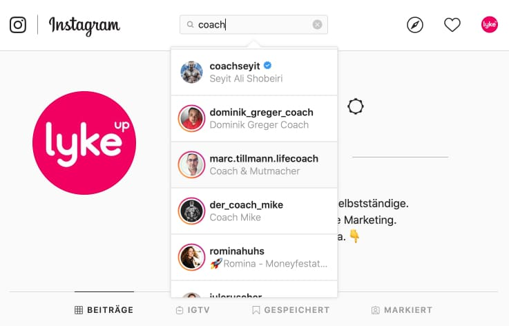 Instagram Keyword Optimierung