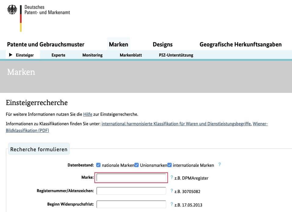 Die Markenrecherche für deinen neuen Blognamen kannst du beim Deutschen Patent- und Markenamt durchführen.