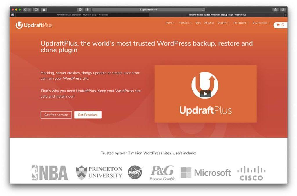 UpdraftPlus Backup Lösung