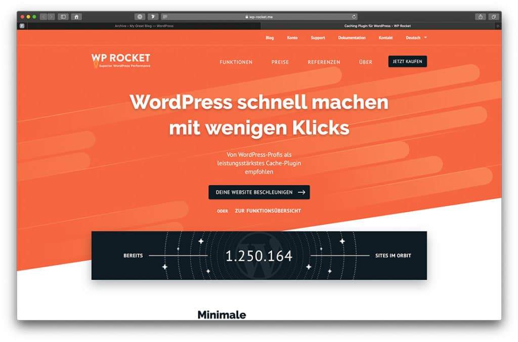 WP Rocket. Mit Website Caching die Ladezeiten optimieren.