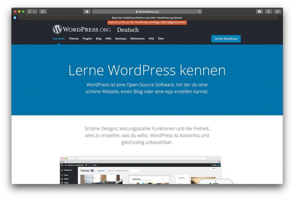 Deutsche Downloadseite des WordPress Blog Content Management Systems
