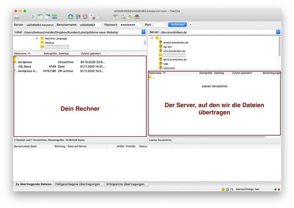 WordPress Übertragung per FTP auf den Server