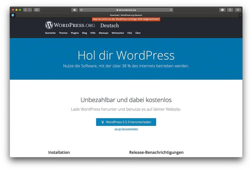 Wordpress Blogplattform Downloadbutton