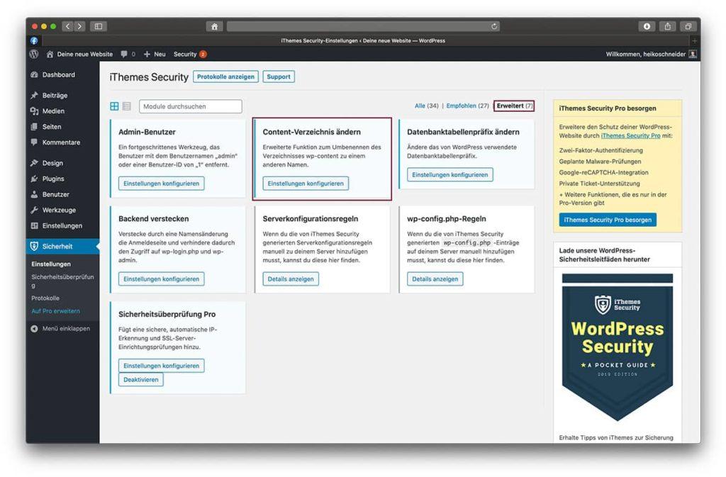 Einfach das Content-Verzeichnis für deinen neu erstellten WordPress Blog ändern