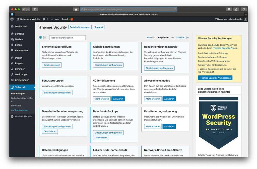 Einstellungen vom WordPress Sicherheitsplugin