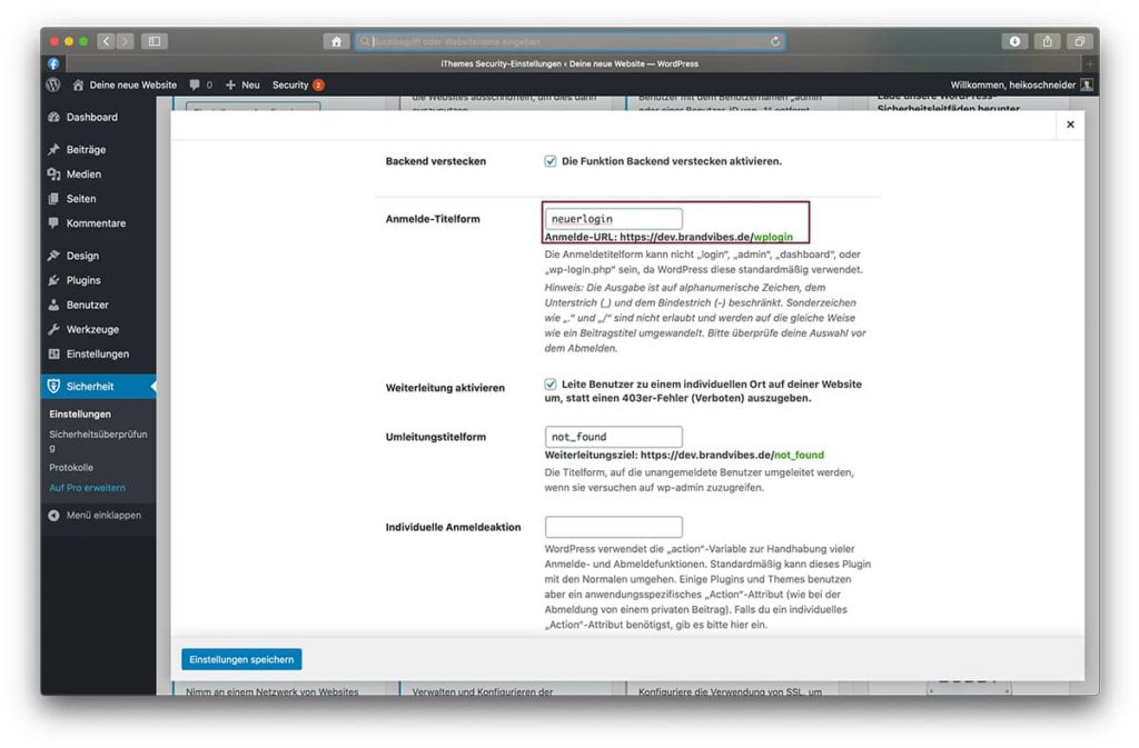 WordPress Login-URL ändern