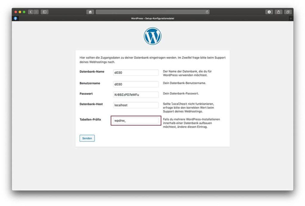 Datenbankabfrage durch WordPress 5-Minuten-Installation