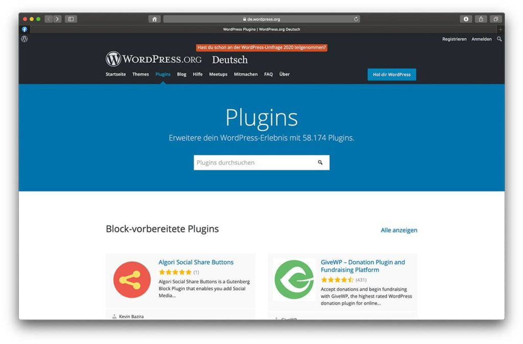 WordPress Plugin Verzeichnis